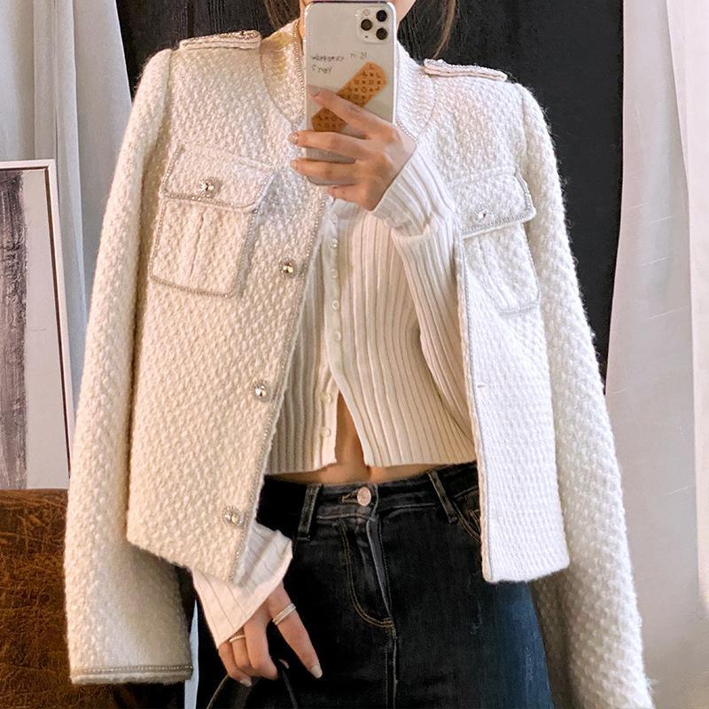 Elegante casaco de Slim manga comprida Brasão Outono Inverno Mulheres Moda Feminina Formal Tweed Coats T200814