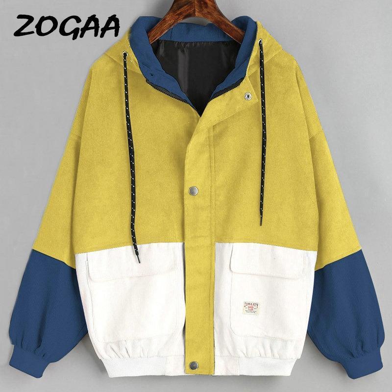 Kış Kapşonlu Kadife Ceket Uzun Kollu Harajuku WINDBREAKER Cep Renk Patchwork Sonbahar Coats Artı boyutu Bombacı ceketler 3XL