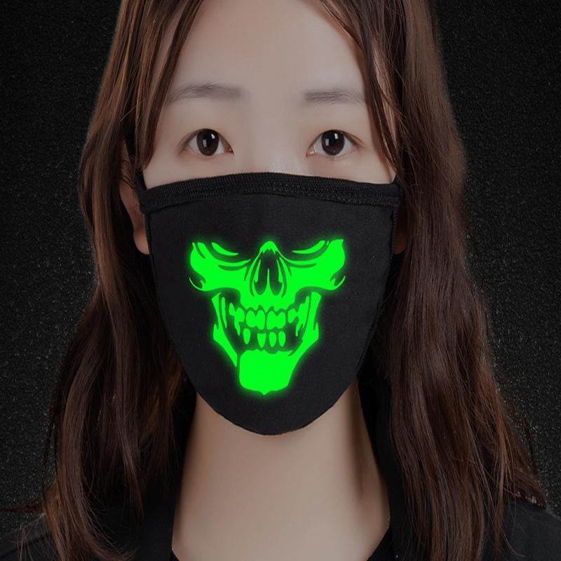 Engrosada fluorescente luminoso horrible máscara de Halloween máscara de Busto cráneo para hombres y mujeres Adecuado para su personalidad Noche Dright Y Único