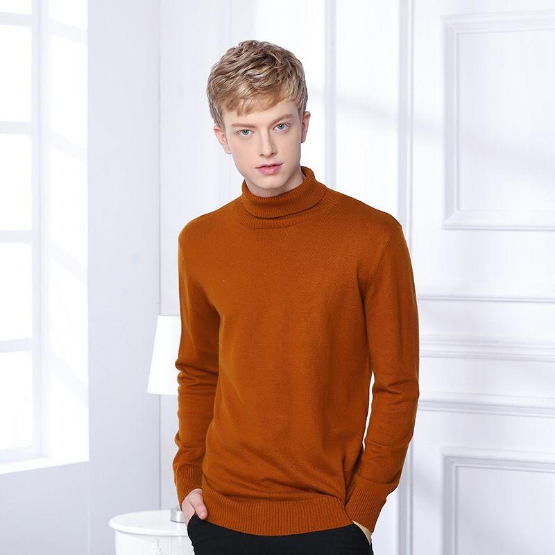 Мужские свитера зима толстые теплые кашемировые свитер мужчины Turtleneck мужская тонкая пуловер классический шерстяной трикотаж тянуть Homme