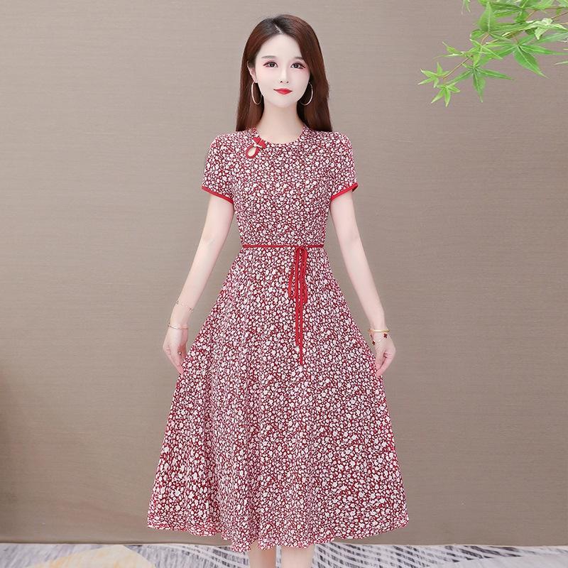 2020 nuova estate cinese stile etnico nazionale il vestito elegante basamento vestito floreale chiffon del collare qYD4n lace-up fino alla vita legato delle donne