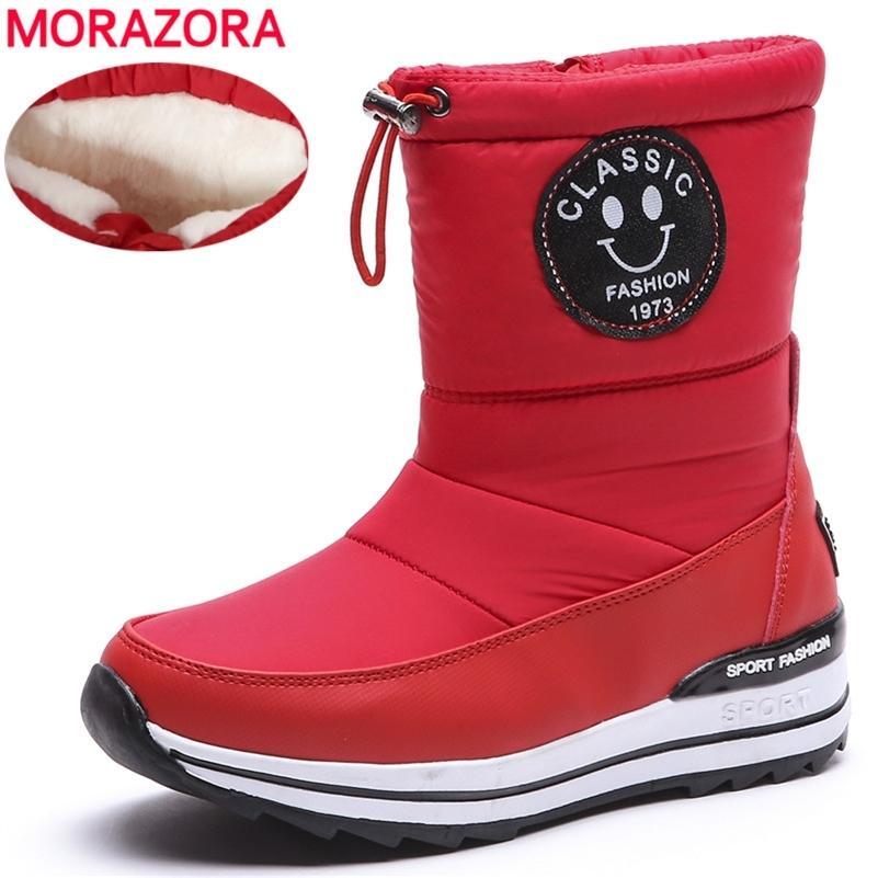dimensioni MORAZORA Inoltre 34-43 della neve per scarpe da donna con cerniera, tenere al caldo stivaletti moda inverno folta pelliccia femminile 200916