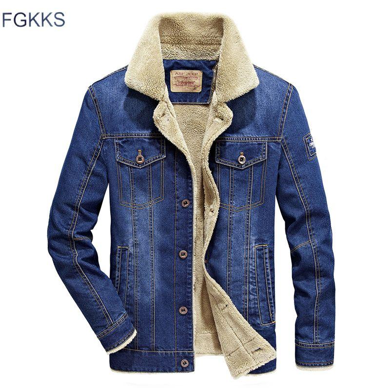 FGKKS Marca Hombres Chaqueta Tejana 2020 Botón Otoño Invierno hombre Moda caliente aviador de los hombres de chaquetas de la capa CX200817