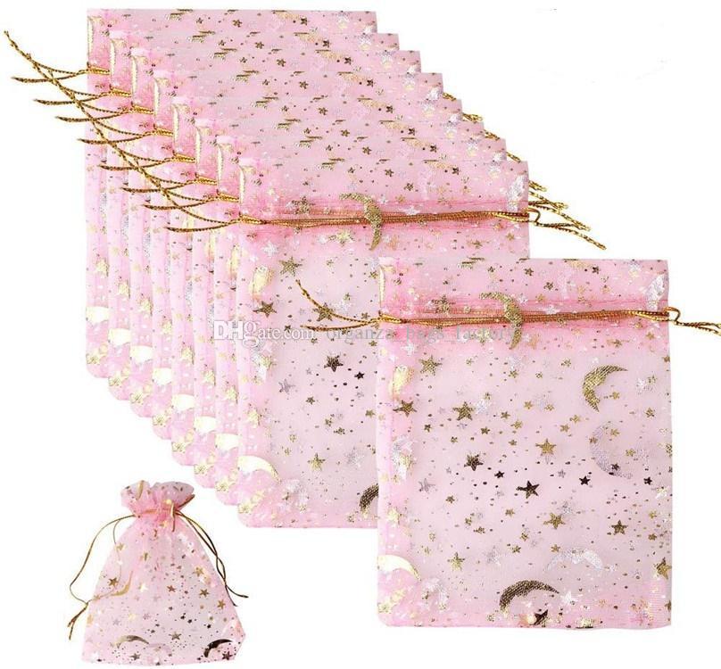 100 pcs / lote rosa lua star organza favor a cordão sacos 4siza malotas de embalagens de jóias de casamento, bom presente de sacos fábrica