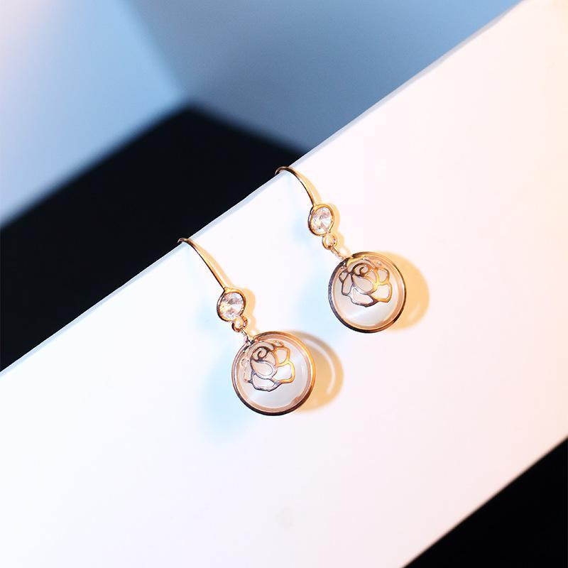 La alta calidad de oro rosa pendientes de gota de diamante de la CZ de imitación de ópalo pendientes para la joyería de las mujeres del partido de la boda