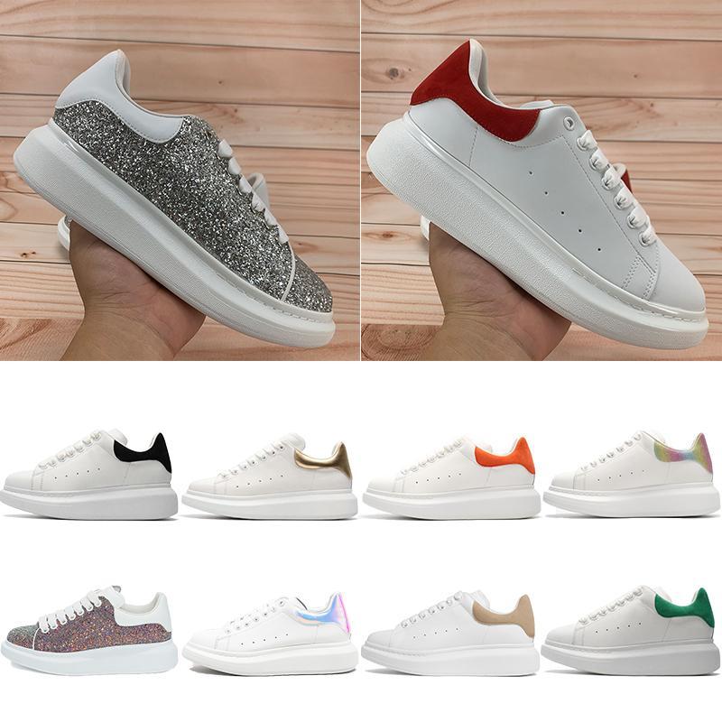 أعلى جودة الرجال النساء منصة الأحذية عاكس رياضة الفضة الأحمر الترتر بورجوندي متعدد الألوان أسود المخملية الذيل الملكي الثعبان المدربين