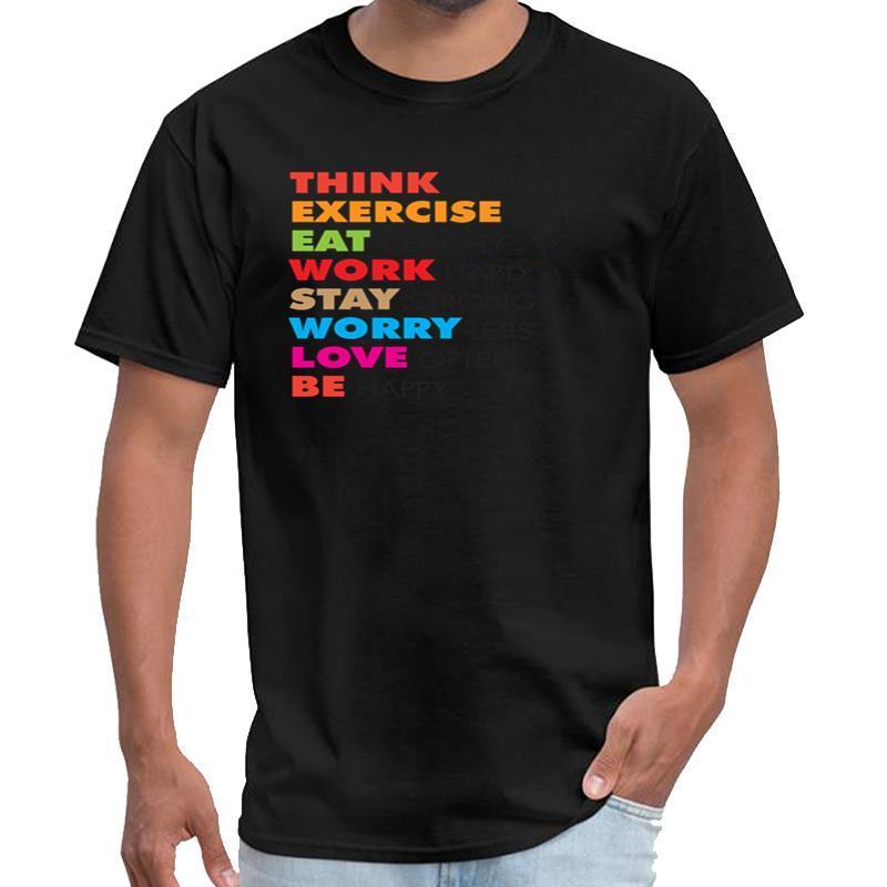 Impreso pensar de manera positiva, el ejercicio diario tee camiseta hombres y mujeres u2 camiseta 3XL 4XL 5XL tee tapas