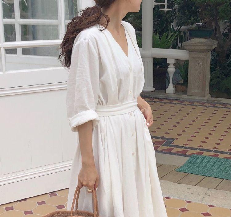 NkBOF elegante 2019 Nuovo perdere tutto-fiammifero con scollo a V semplice 3NRiE vestito di pizzo-up manica lunga coreana