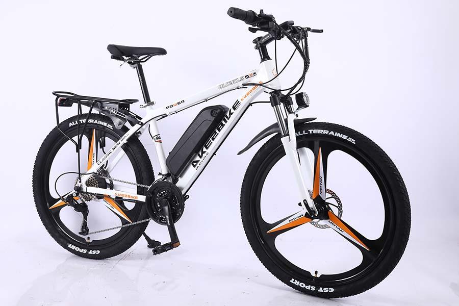 AKEZ 36V10A 26 pouces batterie au lithium de vélo de montagne cadre en alliage d'aluminium blanc 36V350W montagne affichage LCD vélo affichage caché VTT