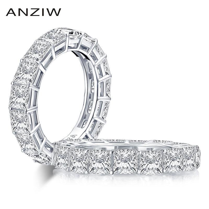 AINUOSHI 925 стерлингового серебра 4mm Princess Cut Full Eternity кольцо для женщин Сона Имитация бриллиантовое обручальное обручальное кольцо T200905