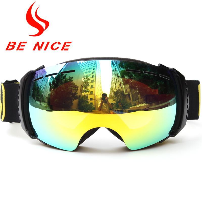 Беница лыжных очки с двойными линзами Anti-Fog Сферического Профессионального снег очки Женщина Multicolor снег Accept Близорукость очки