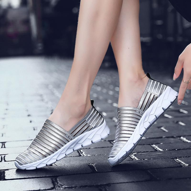 Mulheres Cunhas Sapatos Mulher preguiçosos Deslizamento-ons Plataforma de balé sapatilhas das senhoras sapatos de dança de Wedge Casual malha Bling Loafers