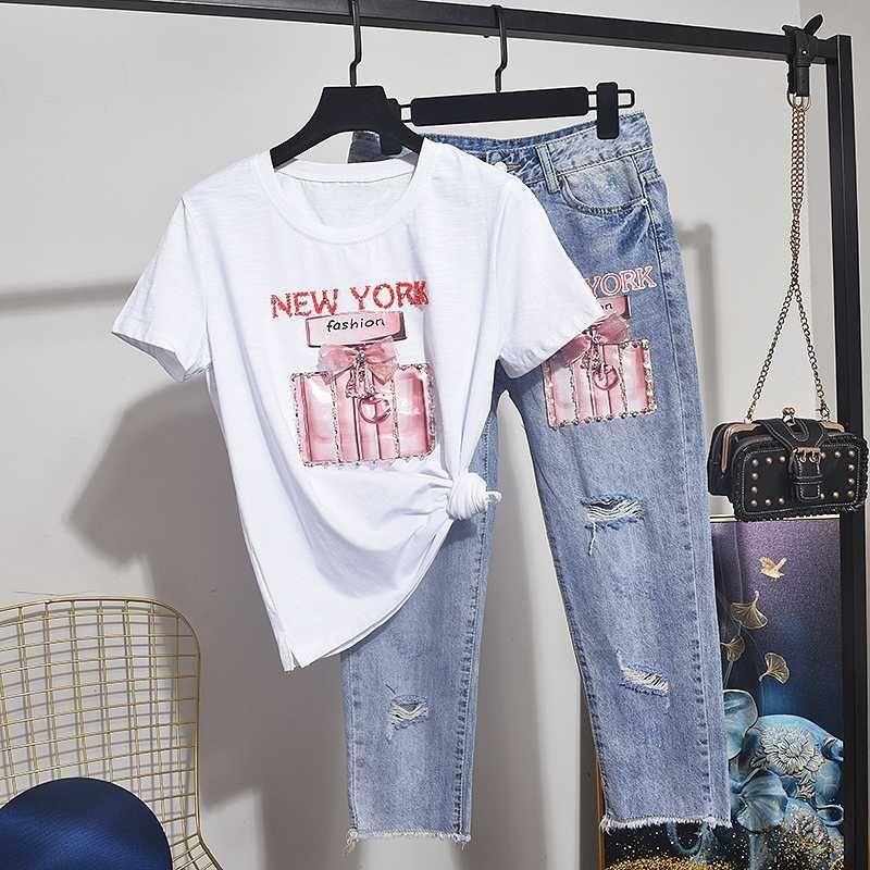 Лето Женщины Комплект Алмазные Хлопок Tee рубашки Femme + Дыры Джинсовые брюки двухкусочный Set Женские наряды Сыпучие футболки джинсы Брюки 2pc