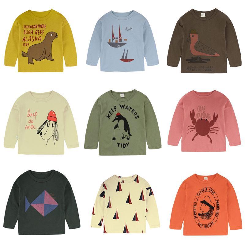أعلى T القميص وبالنسبة للفتى، طباعة الأطفال بنين T قميص الربيع الخريف أطفال تي شيرت القطن طويل الأكمام التي شيرت بنات الكرتون الطفل تي شيرت