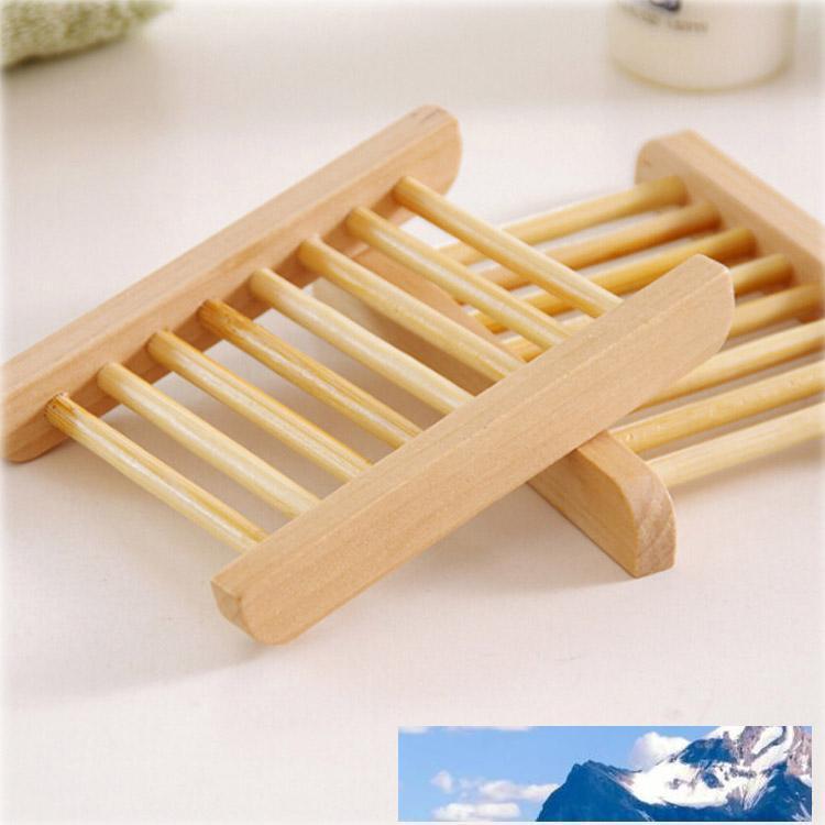 Naturbambus 14 * 20cm Seifenschale für Küche Badezimmer-Seifen-Behälter-Halter Storage Rack-Platten-Behälter Tragbare Dusche Zubehör