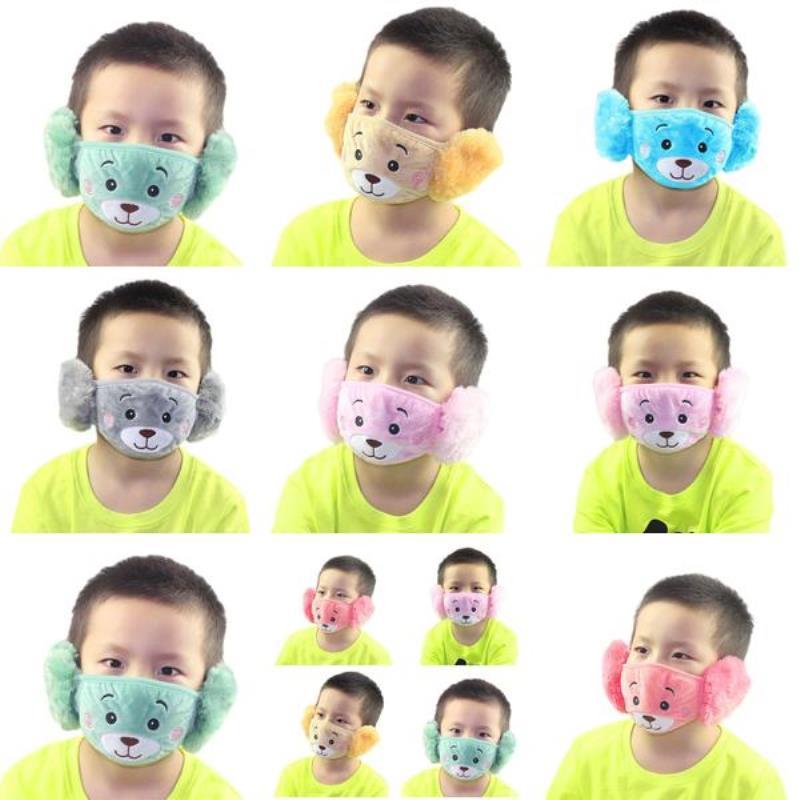 Nette Kinder Grau Plüsch Geben 2020 und Patterns Abdeckung Ewinexpress Warm 169 von der Maske Cartoon Rosa Winter-Masken Masken Bär Ein Staub DiSNC