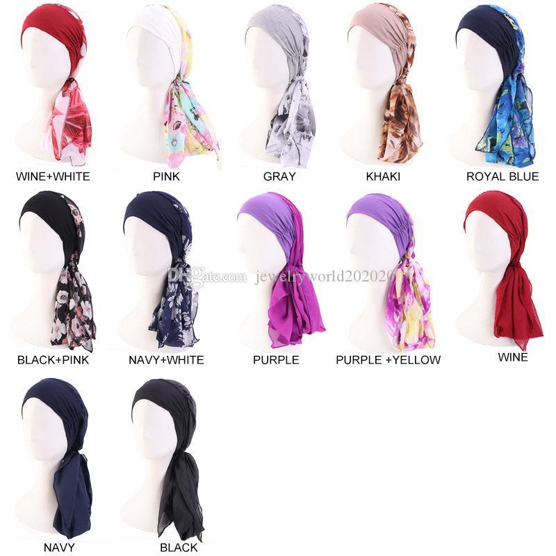 Cotone di legno Testa Con chiffon nastro della protezione della sciarpa cappello del pirata Per Donne Stampa fascia elastica in poliestere della moda di New Turban