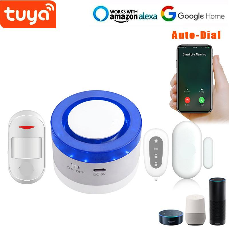 Alarm Sistemleri Gelmesi Tuya Wi-Fi Strobe Flaş Siren ile Kapı Sensörü PIR Motion DIY WIFI Sistemi
