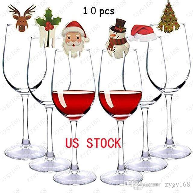 حر dhl جديد السنة حزب اللوازم عيد الميلاد زينة للمنزل الجدول مكان بطاقات عيد الميلاد سانتا قبعة النبيذ الزجاج الديكور 10 قطعة / المجموعة