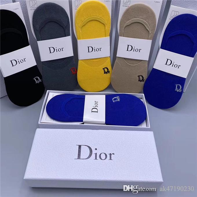 Nueva DIOR calcetines para las mujeres de los hombres antibacterianos de algodón mujeres de la manera Calcetines de 5 pares mens calcetines de las mujeres de Dior