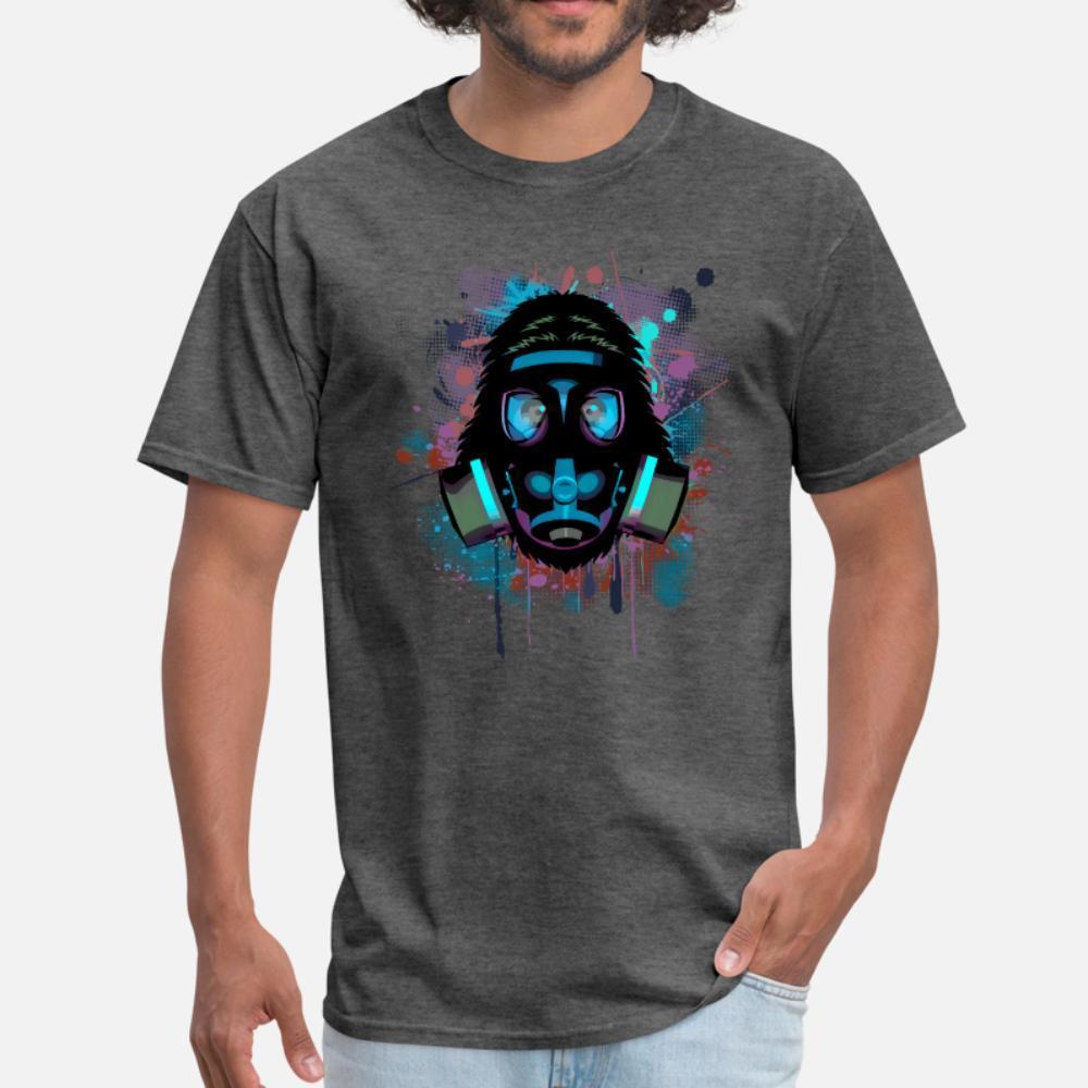 Städtischer Affe mit Gasmaske T-Shirt Männer-Druck aus 100% Baumwolle S-XXXL Brief Nettes Authentisches Frühling und Herbst dünnes Hemdes