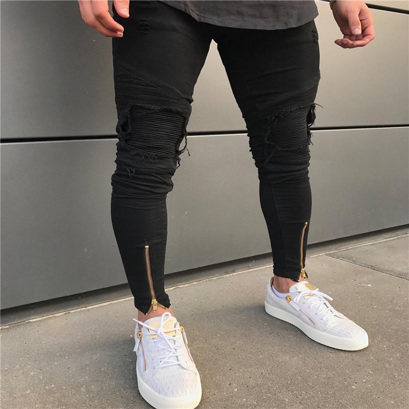2020 heißen Verkauf Designer schwarze Jeans Männer lässig männlich Jean dünn Motorrad hochwertige Denimhosen MX200814