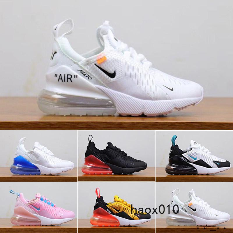 nike air max 270 270s 27c airmax  2019 Newest 27C air Cushion Knit Breathable Children Running shoes boy girl young kid sport Sneaker size 28-35 L8DF2
