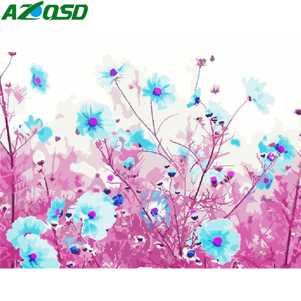 AZQSD Adult Painting By Number Canvas Kits Flower DIY Unframe Unique Gift Coloring By Numbers Floral Home Decoration