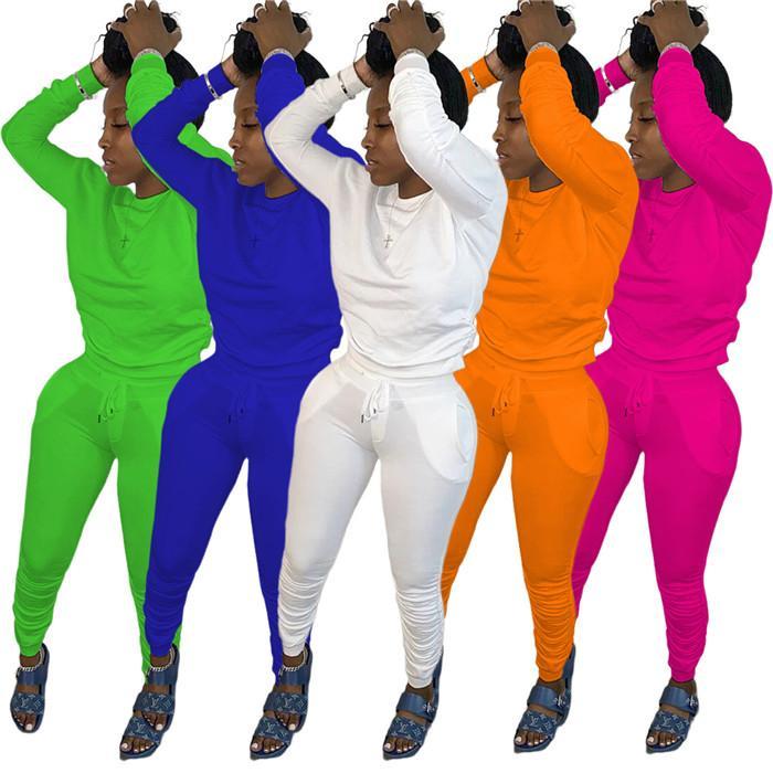 Solido Colore increspati Tute progettista delle donne 2 Imposta pezzi O maniche lunghe con cappuccio e pantaloni sottili autunno casuale delle donne che coprono insieme