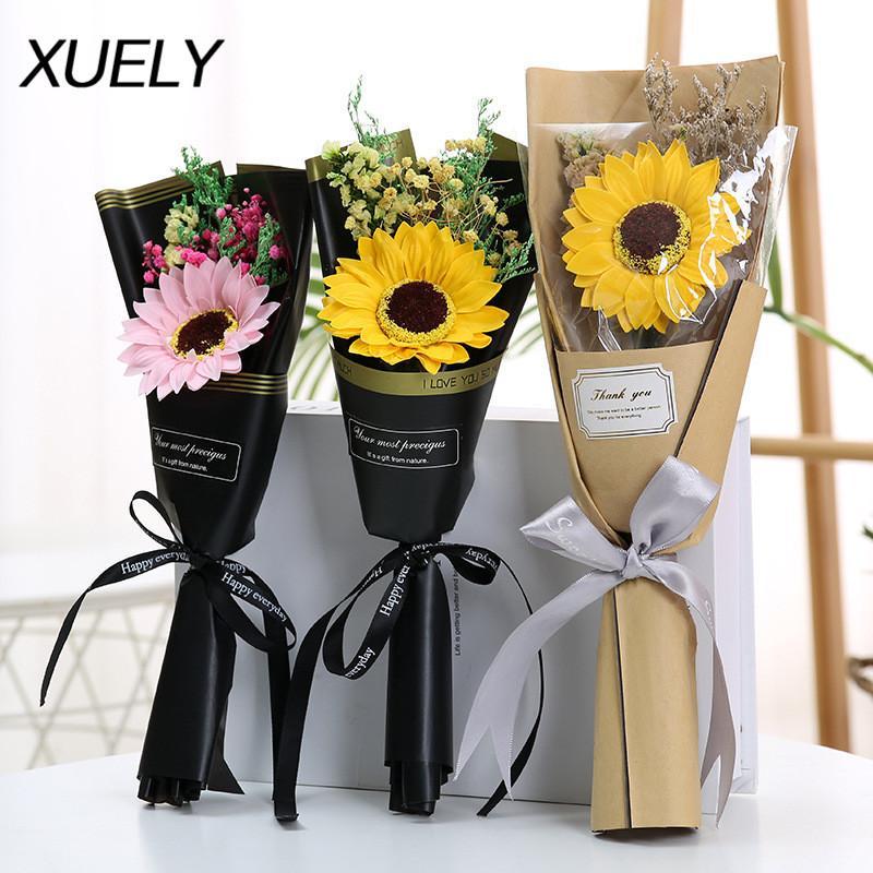 día flor eterna pequeño regalo estrellado flor seca de la madre día del profesor subió girasol artificial jabón Mini ramo de la boda