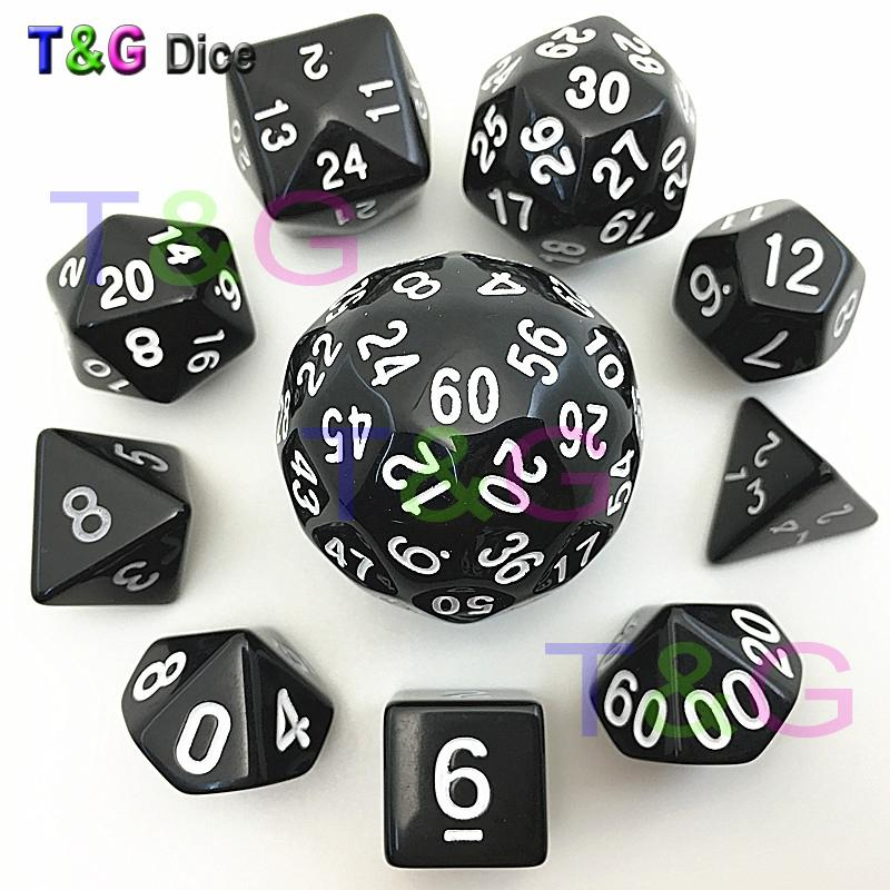 Hot Sales 10cs Digital Dice Set T&G High quality d4,d6,d8,d10,d%,d12,,d20,d24,d30,d60 with Bag For Rpg role playing Game Gift