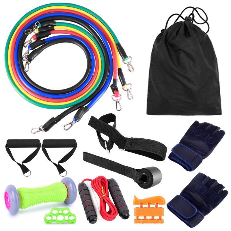 Resistance Bands 16PCS Set ElasticTube Jump Rope Fitness Gloves Foot Massage Equipment For Home Gym Workout