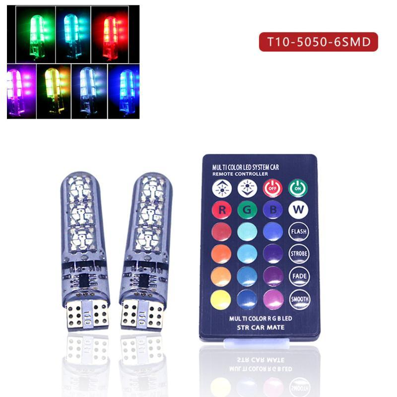 2 x T10 silicona 6 SMD RGB LED de control remoto de coches Cúpula de lectura lámpara de luz de estacionamiento luz parpadeante Bombilla + # PY10 remoto