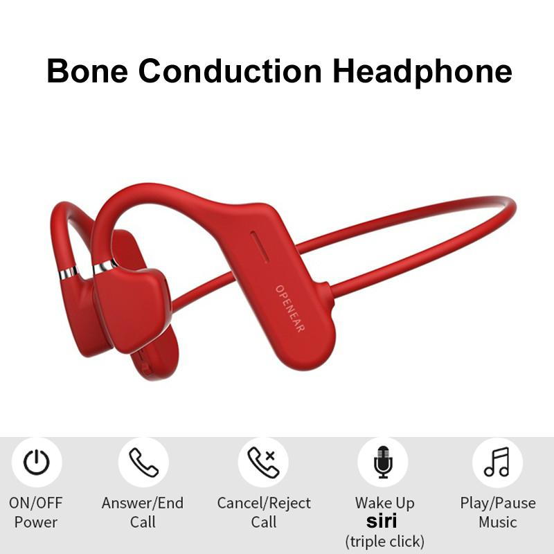 Bone Conduction Headphones Bluetooth Wireless Earphone Neckband Non in-ear or Over-ear Earphone Handsfree for Sports Driving Outdoor Headset