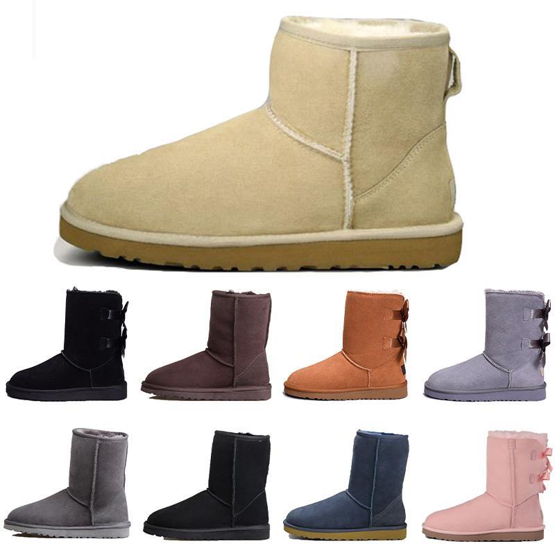 2020 Nuovo stivali firmati in Australia classici stivali da neve donne della ragazza del bowtie della caviglia breve caricamento del sistema della pelliccia per l'inverno fiocco nero di moda della castagna