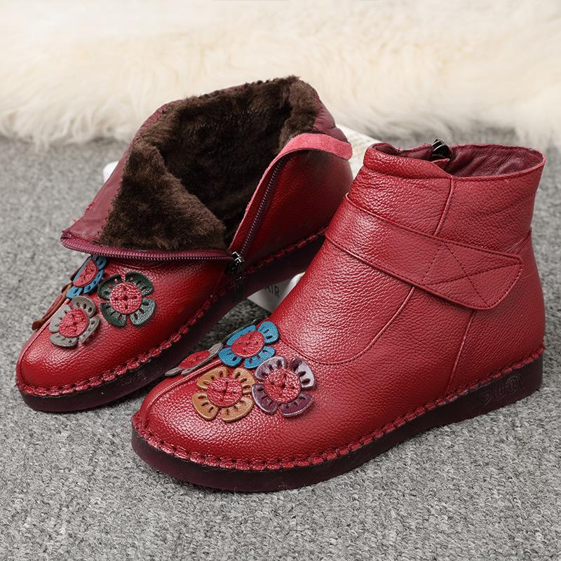 Nouveau mode cuir femmes Bottines d'hiver chaud imperméable femme Bottes de neige Femme non-Slip Chaussures Casual Ladies