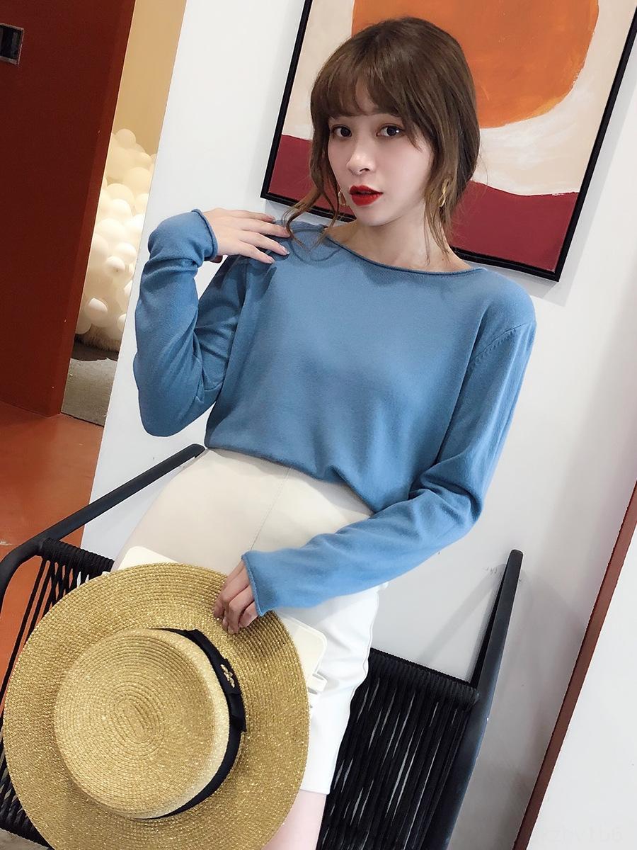 HaUqJ 2020 Primavera e Outono Top novo desgaste exterior camisola fina em torno do pescoço camisa de base interna superior estilo solto Ocidental camisola moda para wom