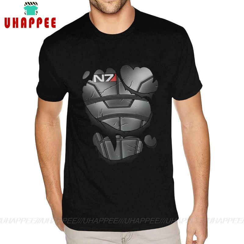Tops Camisetas Mass Effect comandantes armadura N7 de manga corta camiseta 3XL para los hombres de