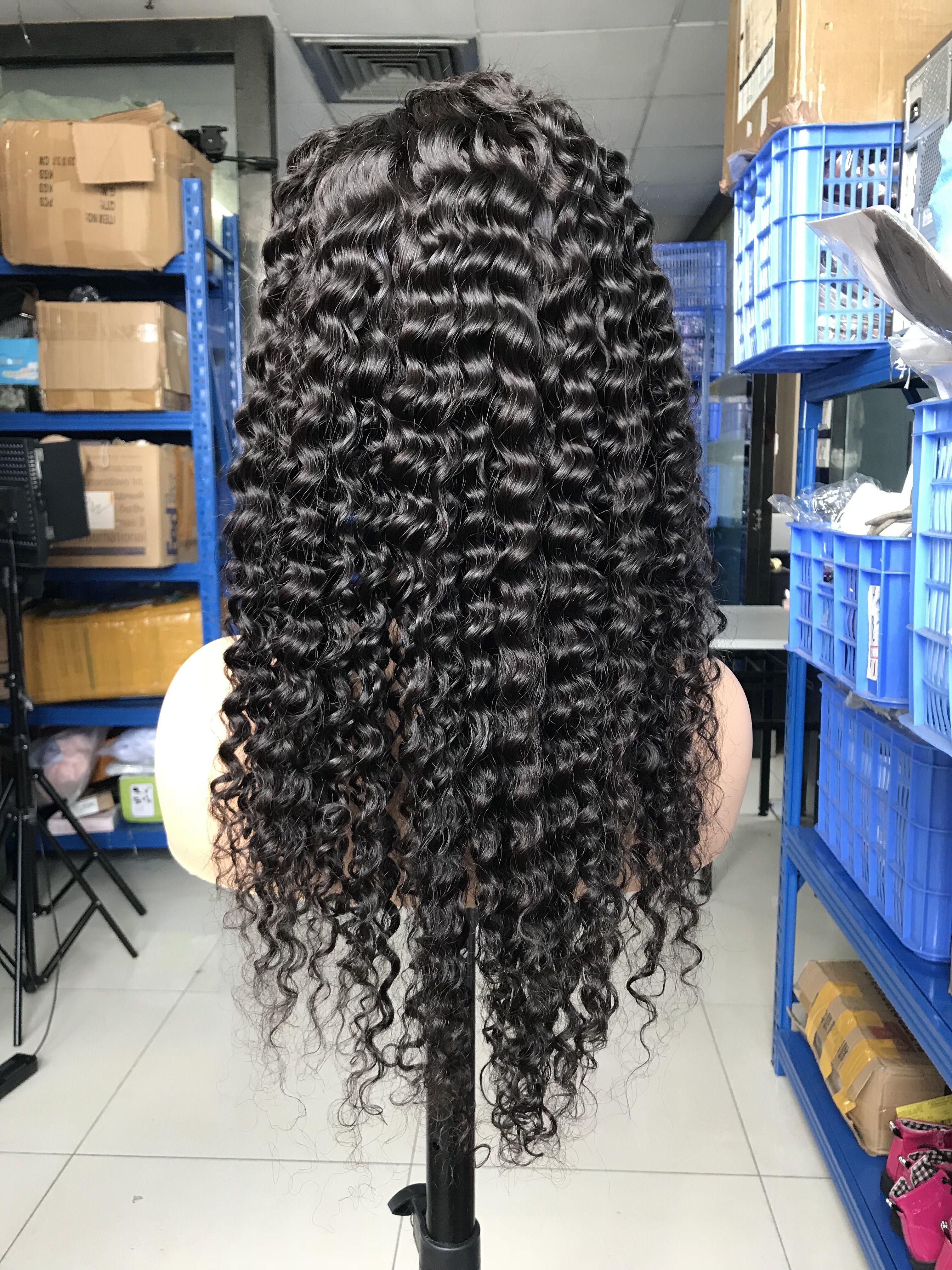 Парики волосы вьющиеся бразильские кружева черные швейцарцы настроить французский стиль глубокая волна полные кружева человеческие волосы парики для чернокожих женщин