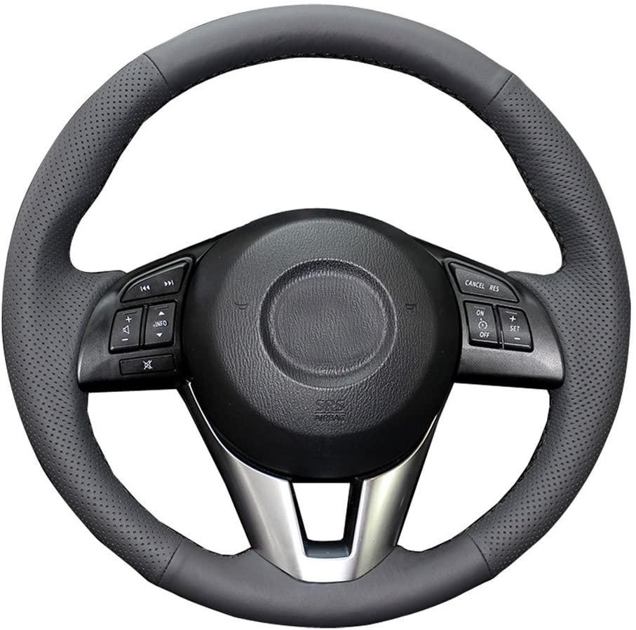 Mazda 6 için DIY Gerçek Deri Direksiyon Kapak Araca Özel 2014 2015 2016 / Mazda 3 2014-2016 / CX-3 2016 2017 / CX-5 2013-2016