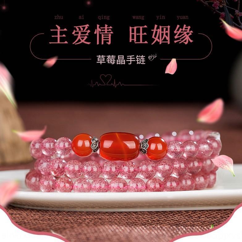 Direkte Lager natürliche russische Erdbeere crystal Erdbeere Armband Achat Armband 3-Kreis Mehrschicht Achat Transfer Perlen