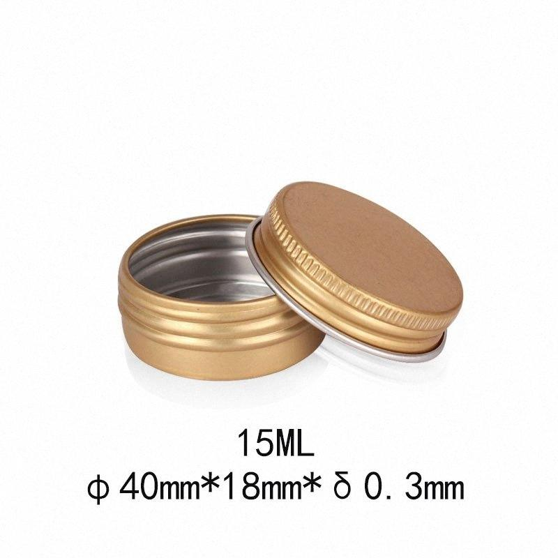 15ml 15g Metal Storage Box 10g 10ml Aluminium Tins Jars Lip Balm Containers Empty Jars Screw Top Tin Cans White Gold Black,Silver Pink 3gE2#