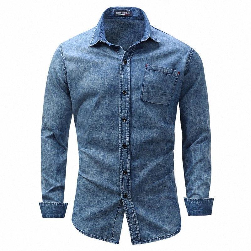 Erkek Gömlek Moda Erkekler Kot Gömlek Uzun Kollu Pocket Pamuk Casual Artı boyutu Erkek Sosyal Kot Gömlek Streetwear Asya Boyut ADTC #
