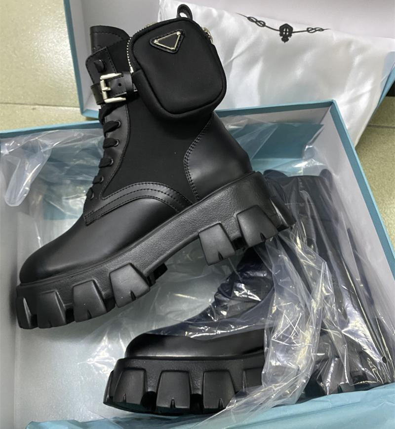 Frauen Martin Stiefel Brushed Rois Stiefel 100% Echtes Leder Nylon mit abnehmbarem Pouch Black Girl Party Schuhe Australien Booties mit Box EU41