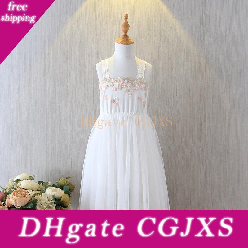 Vieeoease niñas la ropa del vestido de los niños de moda de verano 2020 correas de encaje de tul vestido de fiesta de la princesa flor Cc -670