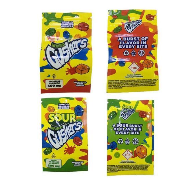 Gushers Sour exótico Mylar bolsa de infusión de bolsa vacía Smellproof a prueba de polvo 500 mg medibles Edibles bolsa de la cremallera de 1000pcs tabaco seco flor de la hierba
