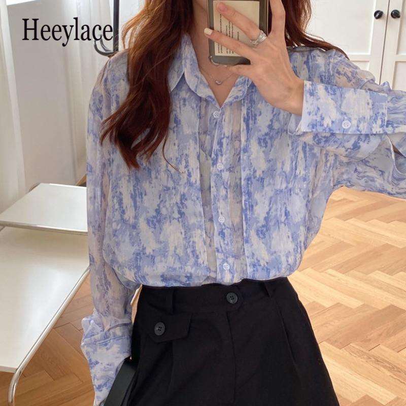 Mulheres Blusa Vintage New 2020 Primavera Atuumn tingido Impresso Streetwear camisetas Senhoras Ultra Luz coreana Tops Femme