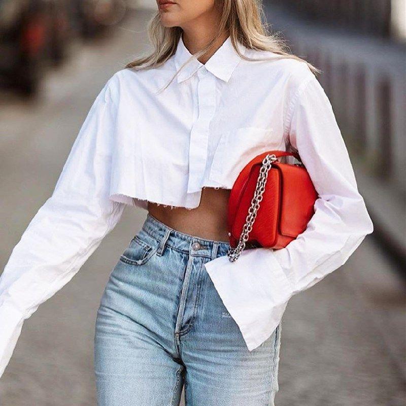 Bureau blanc Blouses Chemises pour femmes courtes Asymétrique Hauts Printemps Automne New Hot T manches longues vêtements féminins Chemises Chemisier