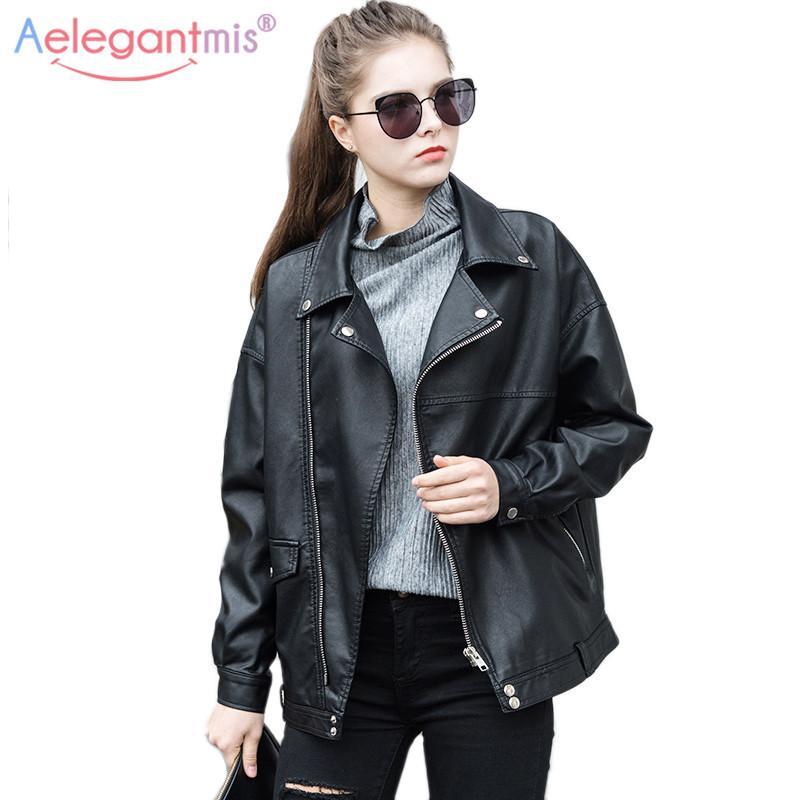 Aelegantmis Faux di qualità alta del rivestimento di cuoio Loose Women Coat Casual Cool Moto Chiodo Primavera Autunno Cappotti Plus Size CX200812