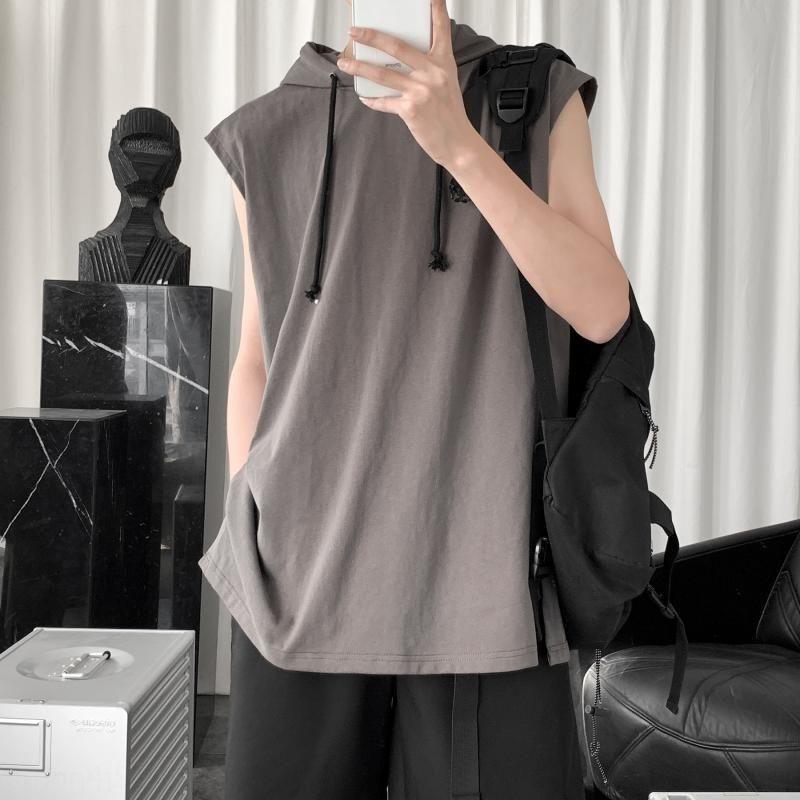 sin mangas con capucha estilo coreano de la moda marca de moda camiseta de los hombres del verano sueltan Harajuku par de deportes chaleco de la camiseta del chaleco del chaleco ins sbhZ1